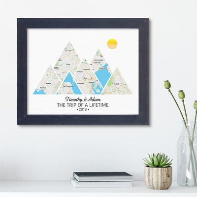Mountain Map Art Option 2 in Carnival Espresso Frame