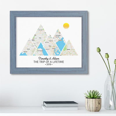Mountain Map Art Option 2 in Carnival Gray Frame