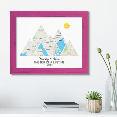 Mountain Map Art Option 2 in Carnival Pink Frame