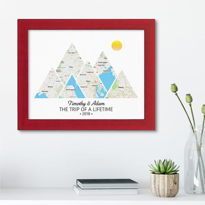 Mountain Map Art Option 2 in Carnival Red Frame