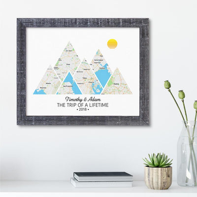 Mountain Map Art Option 2 in Madison Gray Frame
