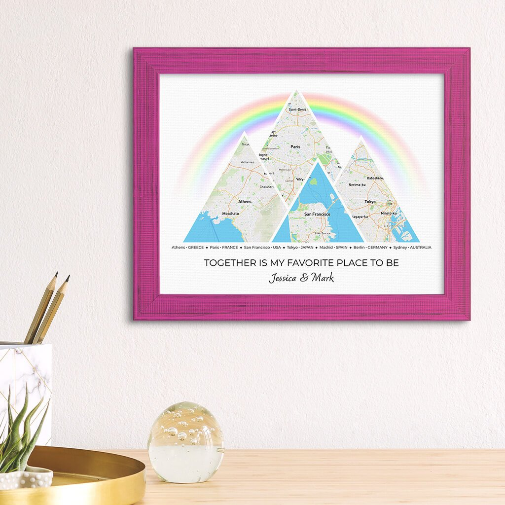 Mountain Map Art Option 3 in Carnival Pink Frame