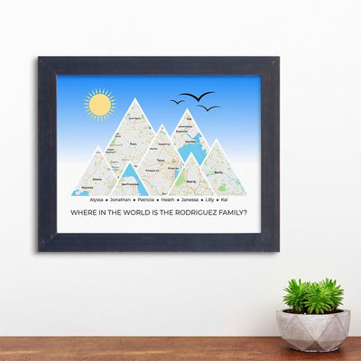 Mountain Map Art Option 4 in Carnival Espresso Frame