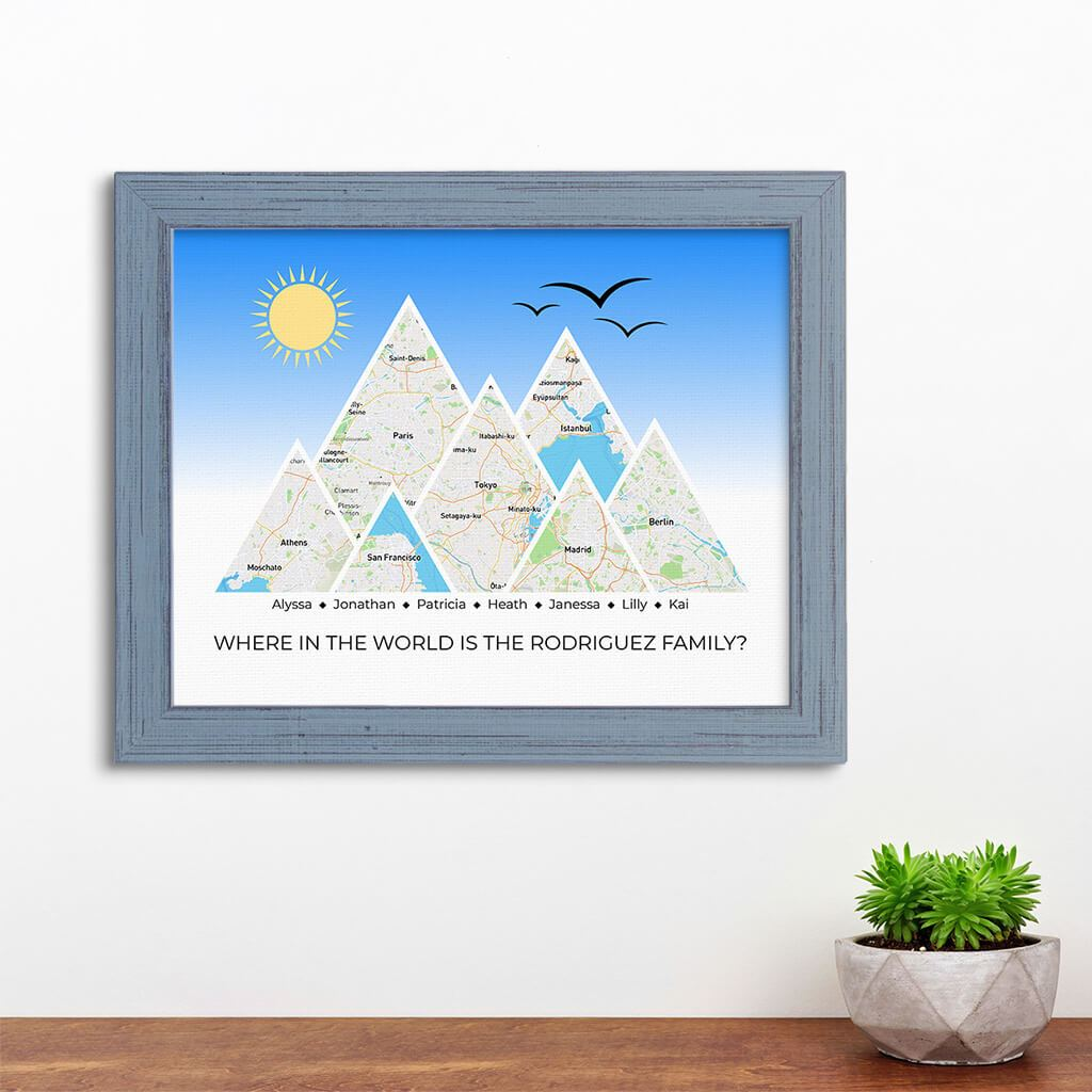 Mountain Map Art Option 4 in Carnival Gray Frame