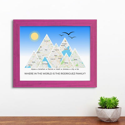 Mountain Map Art Option 4 in Carnival Pink Frame