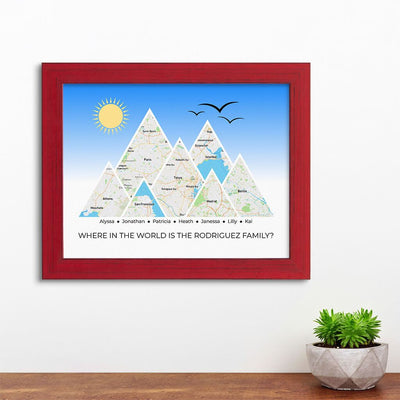 Mountain Map Art Option 4 in Carnival Red Frame