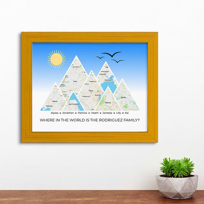 Mountain Map Art Option 4 in Carnival Yellow Frame