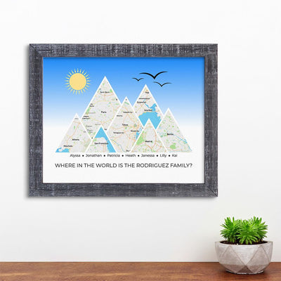 Mountain Map Art Option 4 in Madison Gray Frame