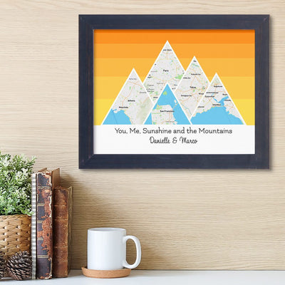 Mountain Map Art Option 5 in Carnival Espresso Frame