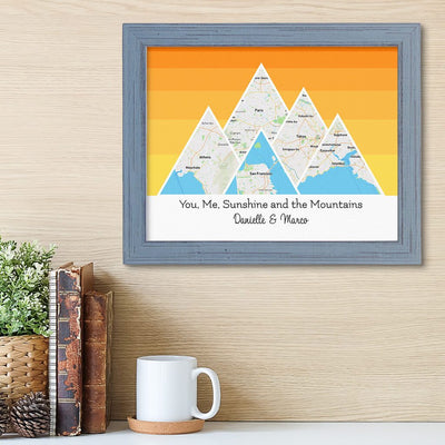Mountain Map Art Option 5 in Carnival Gray Frame