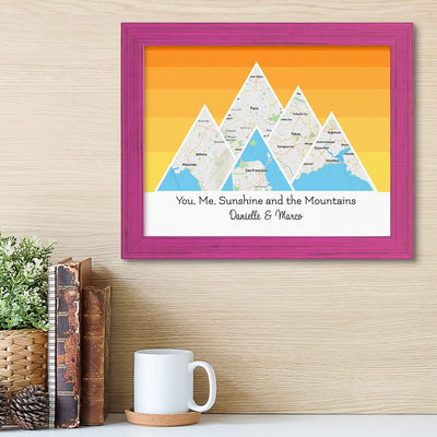 Mountain Map Art Option 5 in Carnival Pink Frame