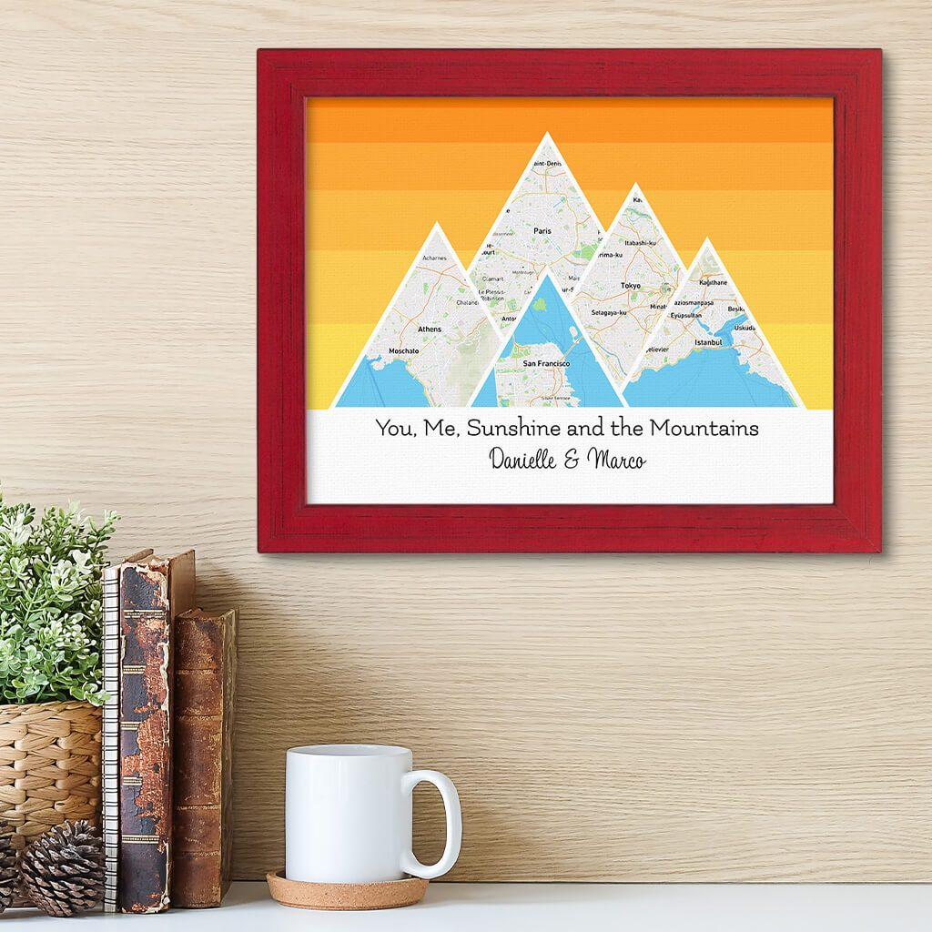Mountain Map Art Option 5 in Carnival Red Frame