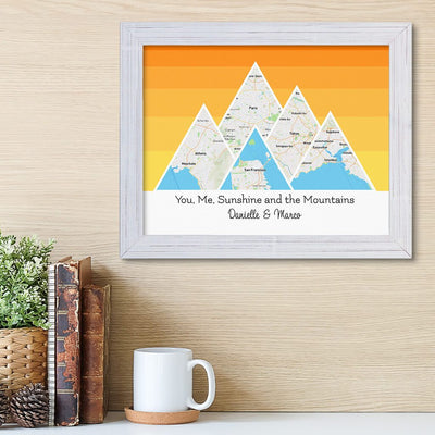 Mountain Map Art Option 5 in Carnival White Frame