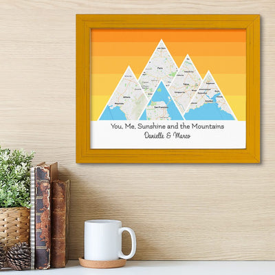 Mountain Map Art Option 5 in Carnival Yellow Frame