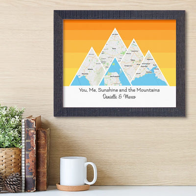 Mountain Map Art Option 5 in Madison Black Frame