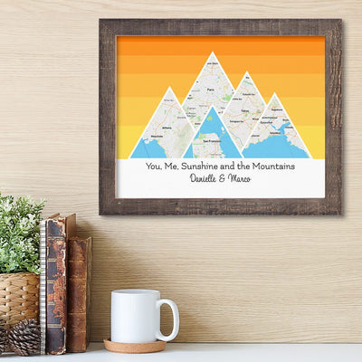 Mountain Map Art Option 5 in Madison Natural Frame