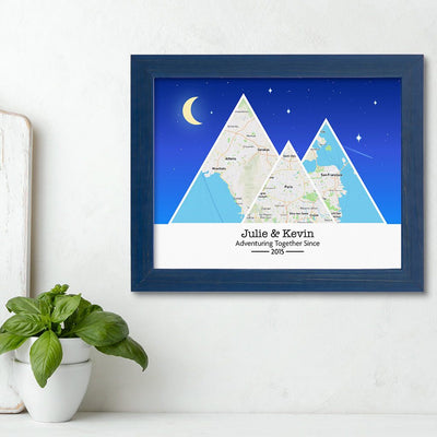 Mountain Map Art Option 6 in Carnival Blue Frame