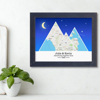 Mountain Map Art Option 6 in Carnival Espresso Frame