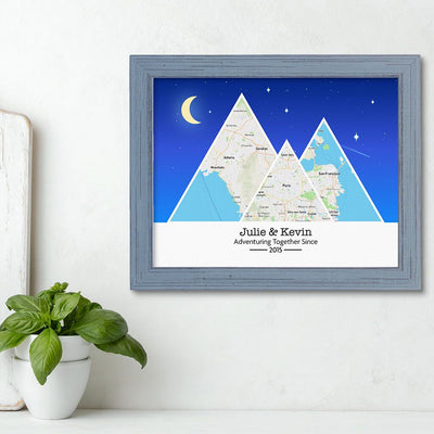 Mountain Map Art Option 6 in Carnival Gray Frame