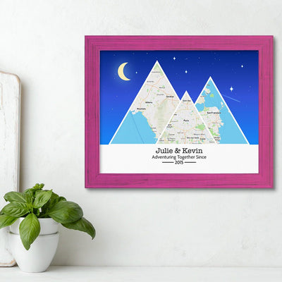 Mountain Map Art Option 6 in Carnival Pink Frame