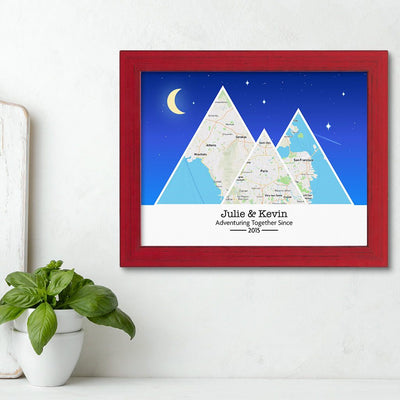 Mountain Map Art Option 6 in Carnival Red Frame