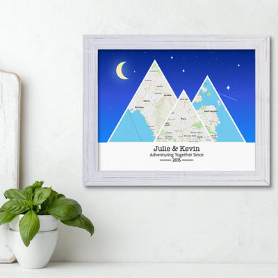 Mountain Map Art Option 6 in Carnival White Frame