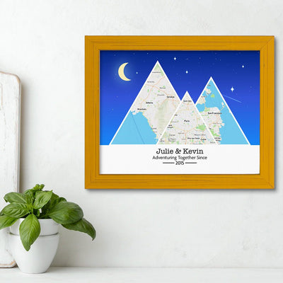 Mountain Map Art Option 6 in Carnival Yellow Frame