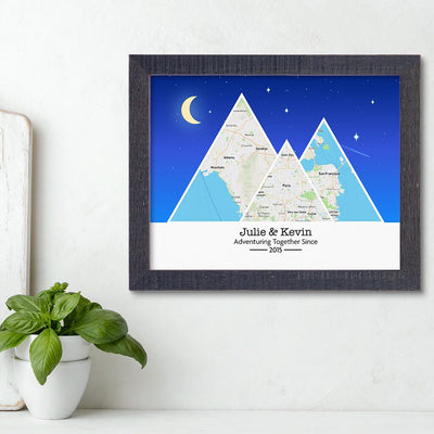 Mountain Map Art Option 6 in Madison Black Frame