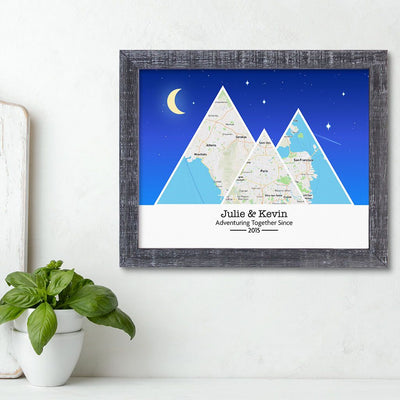 Mountain Map Art Option 6 in Madison Gray Frame