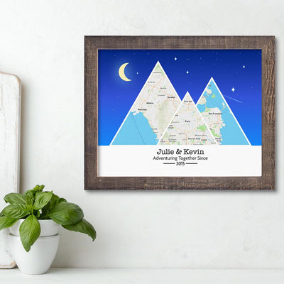 Mountain Map Art Option 6 in Madison Natural Frame