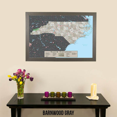 Earth Toned North Carolina State Map with Pins Barnwood Gray Frame