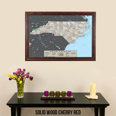 Earth Toned North Carolina State Map with Pins Solid Wood Cherry Frame