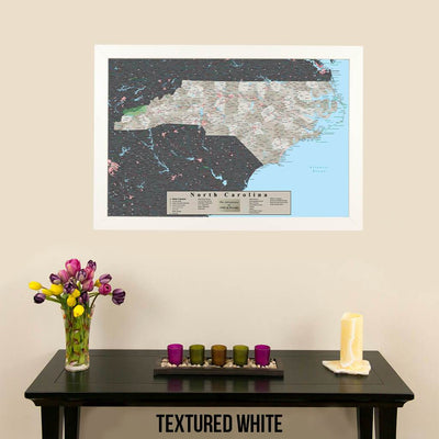 Earth Toned North Carolina State Map with Pins Textured White Frame