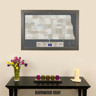 Earth Toned North Dakota Pin Travel Map Barnwood Gray Frame