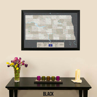 Earth Toned North Dakota Pin Travel Map Black Frame