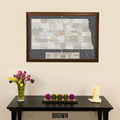 Earth Toned North Dakota Pin Travel Map Brown Frame