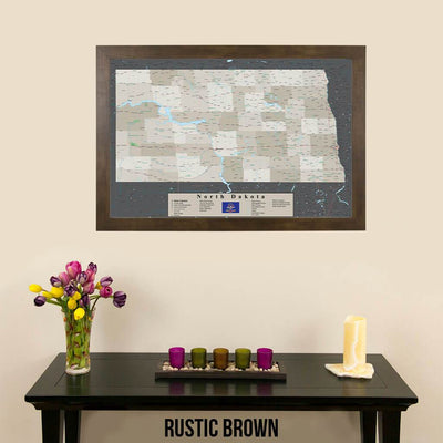 Earth Toned North Dakota Pin Travel Map Rustic Brown Frame