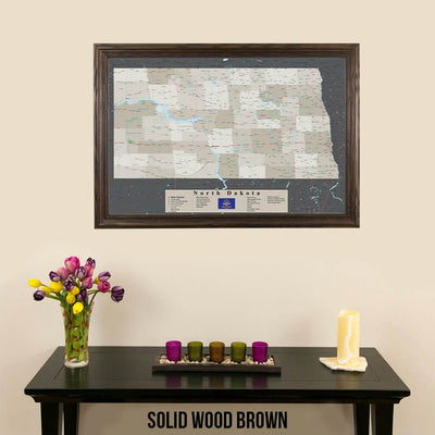 Earth Toned North Dakota Pin Travel Map Solid Wood Brown Frame