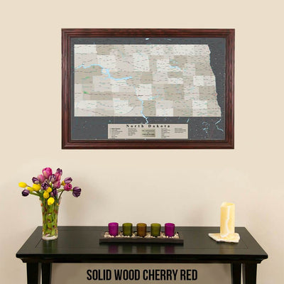 Earth Toned North Dakota Pin Travel Map Solid Wood Cherry Frame