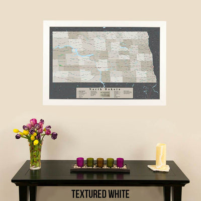 Earth Toned North Dakota Pin Travel Map Textured White Frame