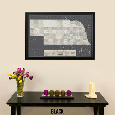 Earth Toned Nebraska State Push Pin Travel Map Black Frame