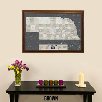 Earth Toned Nebraska State Push Pin Travel Map Brown Frame
