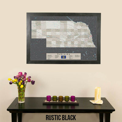 Earth Toned Nebraska State Push Pin Travel Map Rustic Black Frame