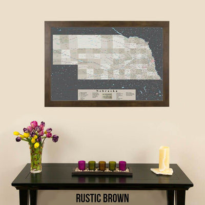 Earth Toned Nebraska State Push Pin Travel Map Rustic Brown Frame