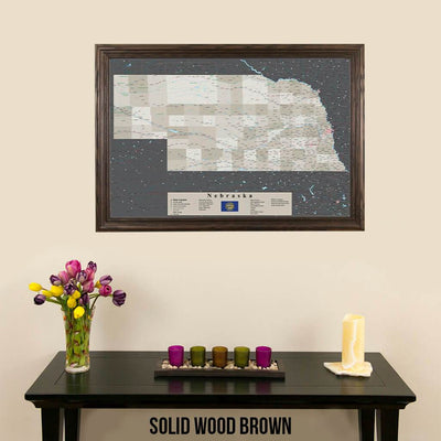 Earth Toned Nebraska State Push Pin Travel Map Solid Wood Brown Frame
