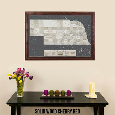 Earth Toned Nebraska State Push Pin Travel Map Solid Wood Cherry Frame