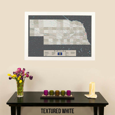 Earth Toned Nebraska State Push Pin Travel Map Textured White Frame