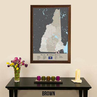 Earth Toned New Hampshire State Travel Pin Map Brown Frame