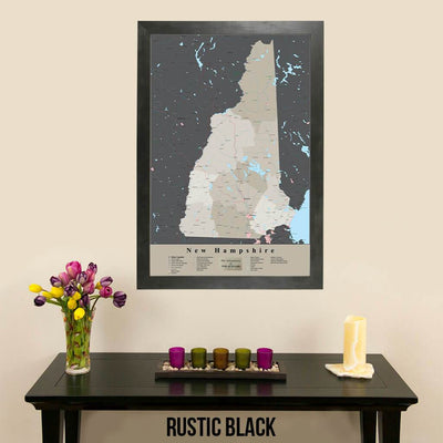 Earth Toned New Hampshire State Travel Pin Map Rustic Black Frame