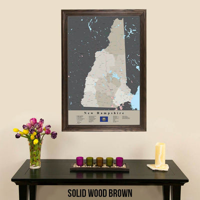 Earth Toned New Hampshire State Travel Pin Map Solid Wood Brown Frame